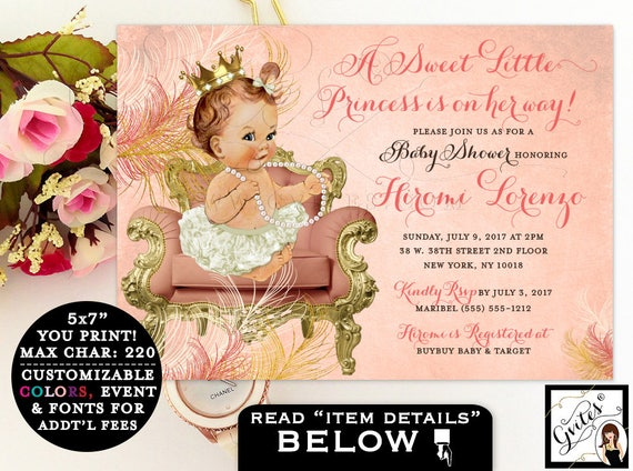 Coral and gold baby shower invitation, princess baby girl, a sweet little princess is on the way, printable digital invitation, gold crown.