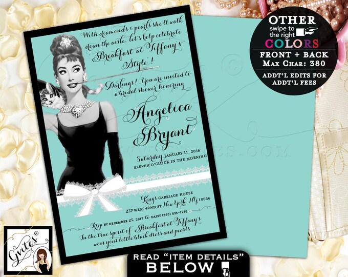 Diamonds and Pearls Bridal Shower, Audrey Hepburn Printable Invites, Customizable, Digital. Double Sided, 5x7 Gvites