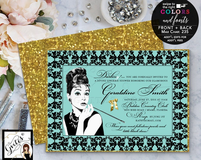 Audrey Hepburn Invitations, Breakfast Bridal Shower, CUSTOMIZABLE colors & fonts. 7x5 double sided