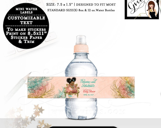 """Coral Gold and Teal Labels, MINI Water Bottle baby shower stickers, personalized water label Fits 8oz-12oz. Size: 7.5 x 1.5""""/7 Per Sheet."""