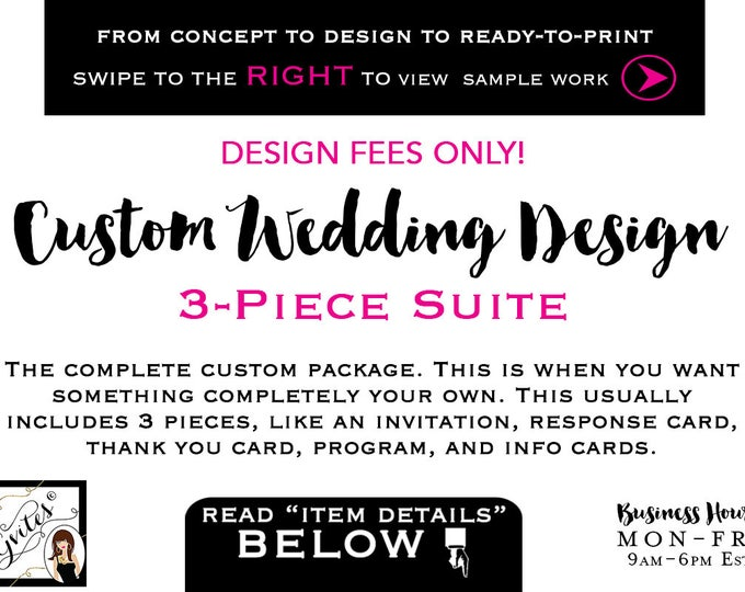 Custom Wedding Invitation Design - 3-Piece Suite, wedding invitations watercolor, gold, invite suite design, digital file. DESIGN FEES ONLY!