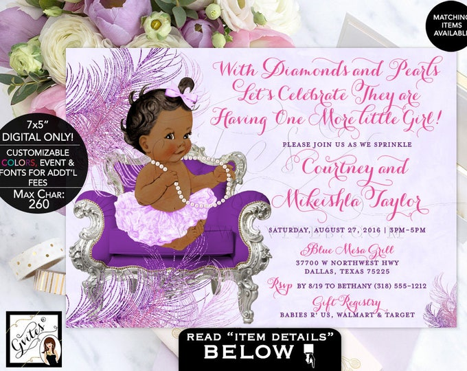 Lavender and pink baby shower invitation, BABY SPRINKLE purple lavender silver baby girl, diamonds pearls, printable, DIGITAL 7x5""
