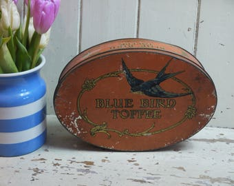 Large Vintage Blue Bird Toffee Tin - Vintage Advertising - Vintage Candy Tin - Vintage Sweet Tin - Blue Bird Tin - Made In England