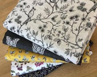 BOTANICA Fat Quarter Bundle B Makower Floral Fabric Vintage Yellow Berries Butterfly