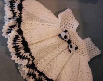 Crochet black and white baby dress