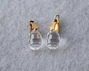 Micro Faceted Crystal Briolette Pair Vintage