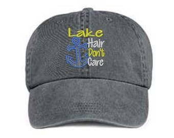 Embroidered Lake Hair Hat/ Lake Hair Don't Care Hat/ Messy Hair Hat/ Lake Hat/Pigment Dyed Lake Hat/ Distressed Lake Hat