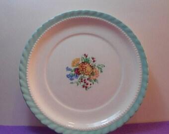 SALE Monticello Steubenville For Herman C. Kupper Aqua Blue Floral Salad Plate