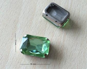 Rhinestone glass rectangular 1258 peridot color