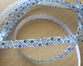 lovely white satin ribbon blue floral