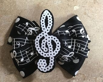 Treble Clef Sequin Music Bow
