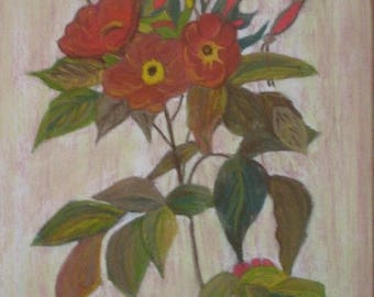 Flowering branch painting painting red flowers Anemones pastel