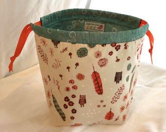 Owl SockSack Sock Knitting Bag Small Knitting Project Bag