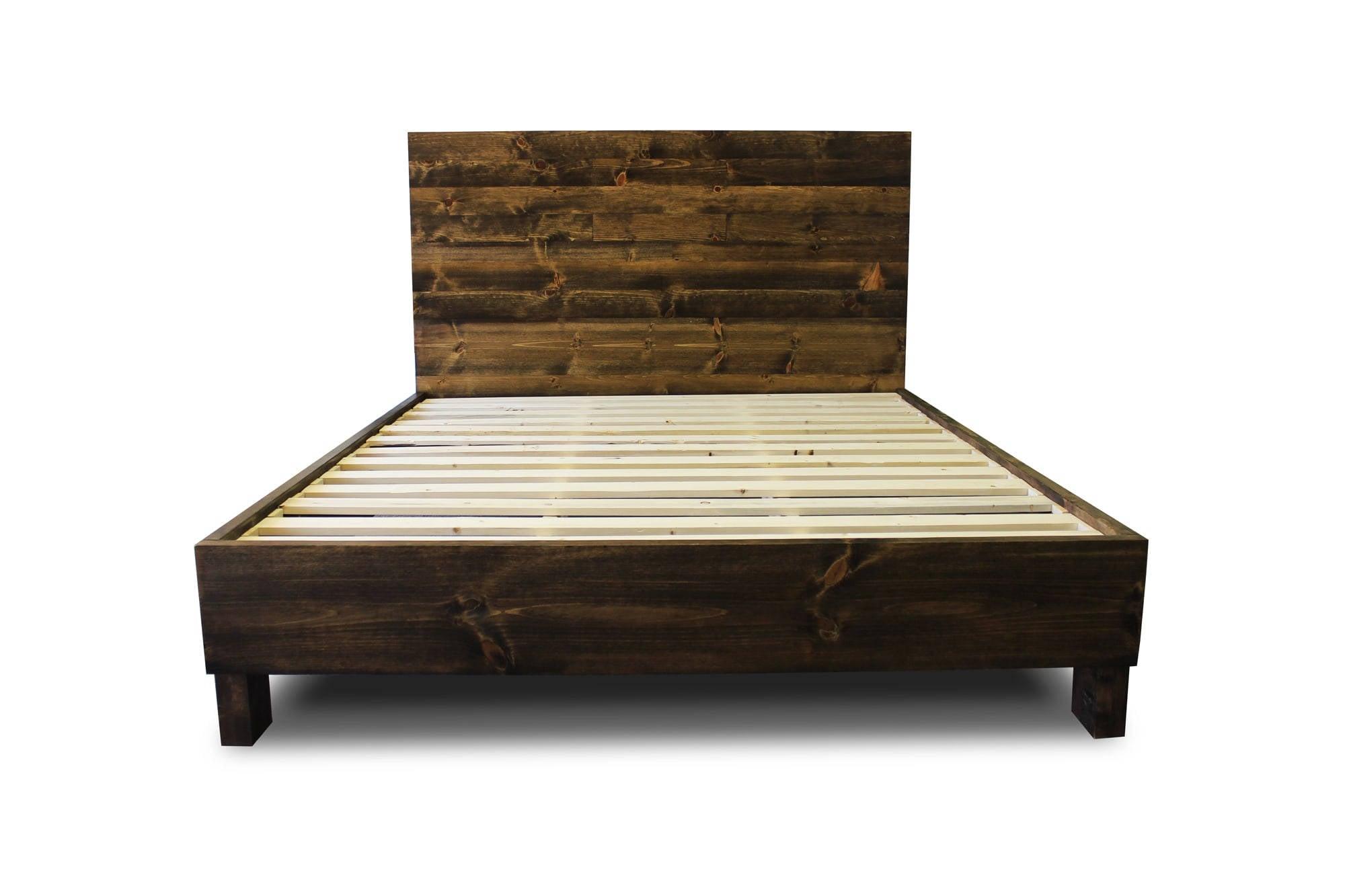 rustic solid wood platform bed frame headboard reclaimed. Black Bedroom Furniture Sets. Home Design Ideas