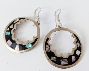 Alpaca Mexico Inlay Vintage Sterling Silver Abalone Earrings