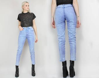 80s High Waisted Stone Washed Jeans, 90s LA BLUES, Size Small, Size 25 to 26, Stretch, Pebbled, Acid Wash, Dyed, Mom Jeans, Tapered Leg