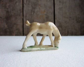 1953 Vintage Wade Whimsies Grazing Horse, 1st Series/Set 1, Grazing Horse, 1953, Wade Whimsies White/Tan Horse, Rare Wade Porcelain Animals