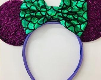 Ariel Mickey Ears, Ariel Ears, Littler Mermaid Ears, Little Mermaid Mickey Ears, , Purple Minnie ears