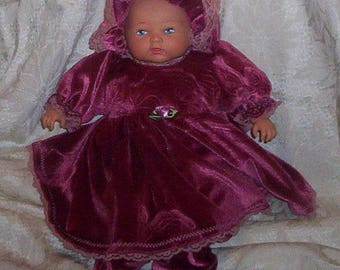"A.G. Bitty Baby 16"" DOLL Velour Dress Set.. Also Fits PREEMIE'S"
