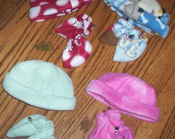A.G. Bitty Baby 16 inch Fleece Cap & Booties Set, Choose one of the four. Fits PREEMIES Too!