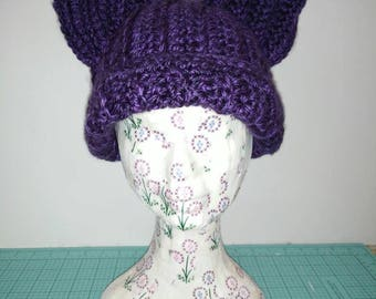 Crocheted Kitty Ear Beanie