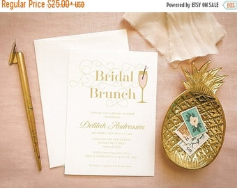 Champagne Bridal Shower Invites Pink and Gold