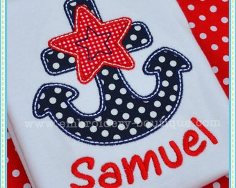 Personalized 4th of July Anchor Applique Shirt or Onesie Boy or Girl