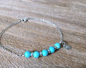 925 sterling silver turquoise ANKLET hand stamped initial leaf turquoise initial bracelet bar bracelet turquoise body jewelry anklet bridal