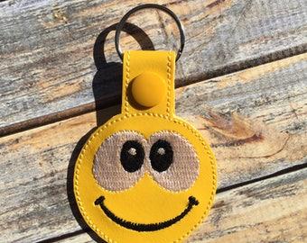 Smiling Face Fob - Snap/Rivet Key Fob - DIGITAL Embroidery Design