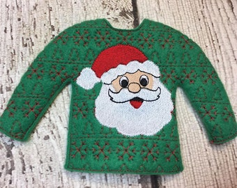 100% ITH - Santa Doll Sweater - 5 x 7 Only - Fleece is Suggested -  DIGITAL Embroidery DESIGN