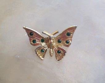 Butterfly Brooch, Butterfly Pin, Green Stone Butterfly Pin, Green Stone Brooch, Rhinestone Butterfly pin, Green Gem Butterfly Pin, Gold Tone