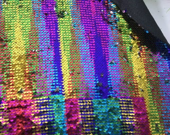 1yard Multicolor/Shiny Sliver Flip Up Sequin Fabric,Rainbow Reversible Sequins on Satin,Has no Stretch,2Tone Mermaid Sequin Fabric