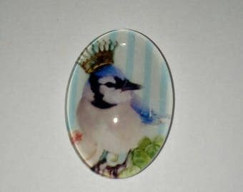 X 1 oval Cabochon glass bird King