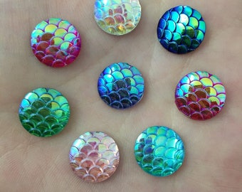 Resin 12mm X 10 Cabochons scales mix color
