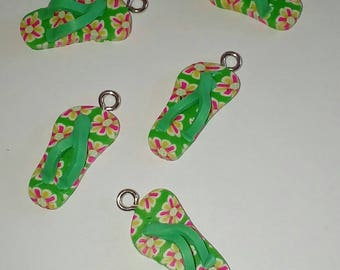 X 1 Tong green flowered fimo