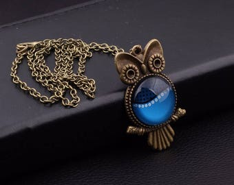 X 1 bronze OWL necklace and a blue glass cabochon