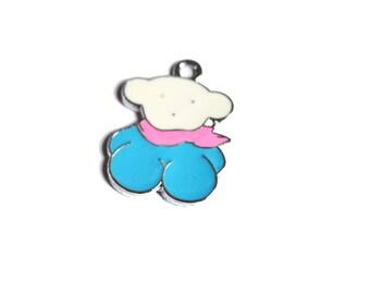 Teddy bear pink enamel and blue 1 X 23mm