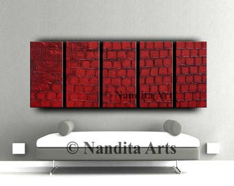Red Abstract Art Large Red Wall Art Modern Painting Texture Red Wall Decor Red Painting on Canvas, Contemporary Art - Nandita Albright