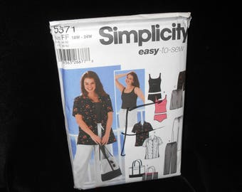 Misses Pants Shorts Simplicity 5571 Womens Shirt Bag Tankini Sizes 18W-24W Easy