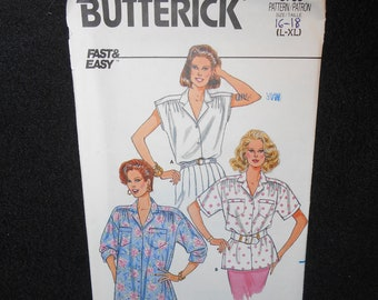 Misses Blouse Butterick 3769 Fast Easy Womens Large Extra Large Sizes 16-22 Top