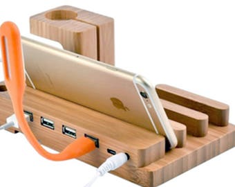 Smartphone Wooden Charging Station Cell Phone Dock - Christmas Gift Father Dad Boyfriend - Charging Dock - iPhone Charging Station