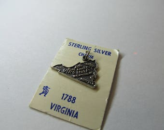Vintage Sterling Silver State of Virginia Char W #632