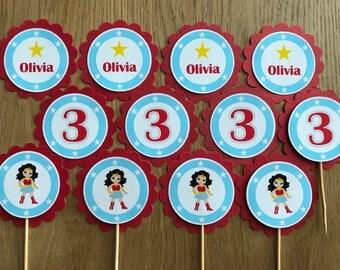 Girl SuperHero Personalised Cupcake Toppers ~Star Girl~ for Girl Superhero Birthday Party, Baby Shower-suit WonderGirl Party