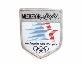 """Vintage Michelob Light Beer Los Angeles 1984 Olympics California Embroidered Patch 2.75"""" x 3.25"""""""