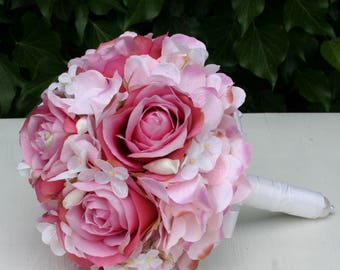 Bridal bouquet Biedermeier with pink roses and hydrangeas
