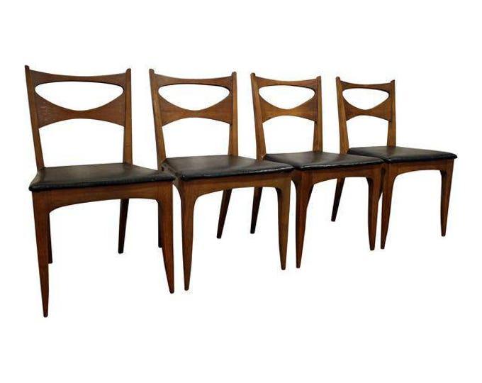 Set of 4 Mid-Century Danish Modern Teak Bow Tie Dining Chairs