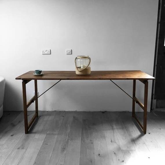 Vintage Trestle Table Folding Rustic Old Pine Desk Dining Garden Restored 1950s