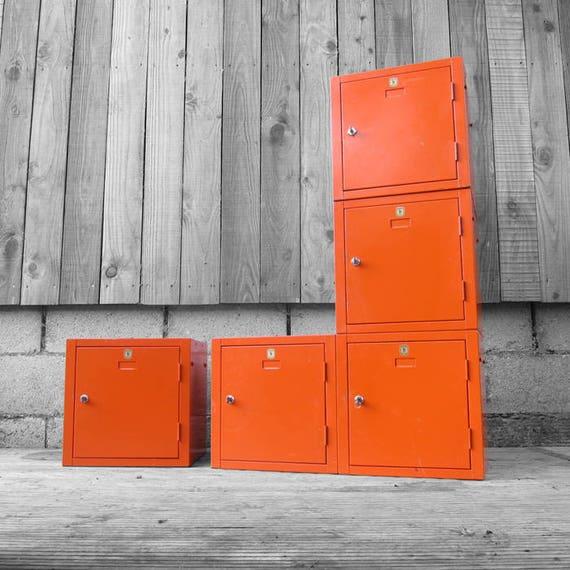 Industrial Lockers Vintage Orange Cubes Stacking Helmsman Mid Century Storage