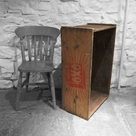 Oxo Box Rustic Pine Crate Trunk Chest Kitchen Storage Display 1940s