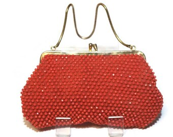 Vintage Red Beaded Bag with Chain Strap,1950s-60s Evening Purse,Small Red Wristlet, Hand Made in Hong Kong,Party Purse,50s-60s Accessories